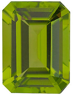 Fine Natural Calibrated Emerald Shape Peridot Gem Grade AAA, 8.00 x 6.00 mm in Size, 1.7 Carats