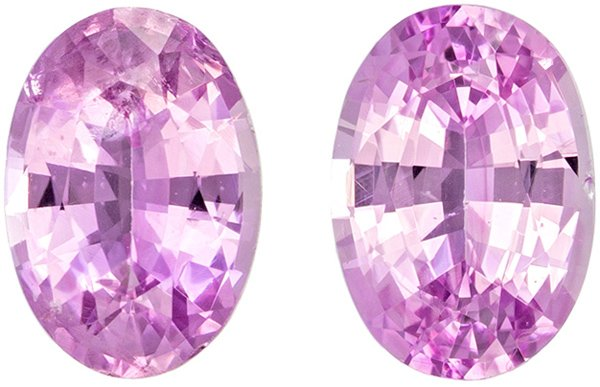 Fine Pink Sapphires from Ceylon in Well Matched Pair in Oval Cut, 6.4 x 4.5 mm, 1.43 Carats