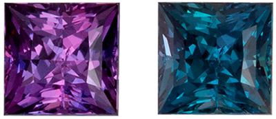 Fine Quality Alexandrite Gemstone in Princess Cut, Teal Blue to Burgundy Magenta, 3 mm, 0.21 carats