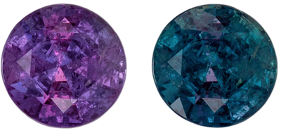 Fine Quality Alexandrite Gemstone in Round Cut, 0.35 carats, Teal Blue to Burgundy Magenta, 3.9 mm