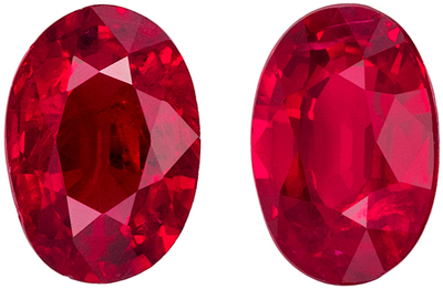 Fine Quality Genuine Ruby Well Matched Pair, Oval Cut, Vivid Rich Red, 5.8 x 4 mm, 1.12 carats