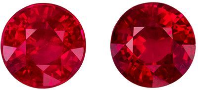 Fine Quality Genuine Ruby Well Matched Pair, Round Cut, Pure Rich Red, 5.1 mm, 1.49 carats