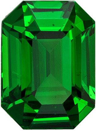 Fine Classic Tsavorite Gemstone in Emerald Cut, Gorgeous Rich Grass Green Color in 1.82 carats , 7.9 x 5.8 mm