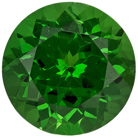 Fine Tsavorite Loose Gem in Round Cut, Grass Green, 6.1 mm, 1.09 carats