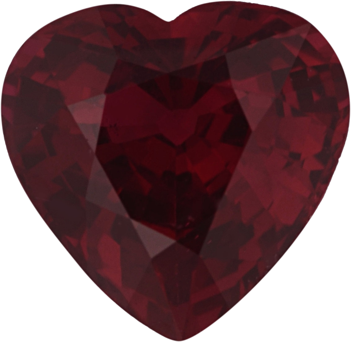 Fine  Unheated Ruby Loose Gem in Heart Cut, Vibrant Purple Red, 6.49 x 6.56  mm, 1.18 Carats