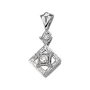 Finely Crafted 14k White Gold and Diamond Pendant for SALE - FREE Chain - SOLD