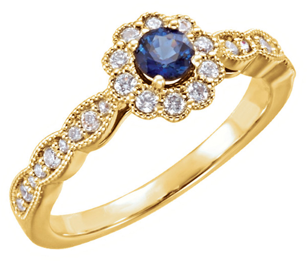 Finely Crafted 14kt Gold 4.10 mm AA Blue Sapphire Ring With 1/3ctw Halo Diamond Accents - Metal Type Options