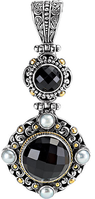 Finely Wrought Black Onyx and Pearl Sterling Silver & 18K Yellow Gold Pendant for SALE - Checkerboard Style Round Onyx Gems - Free Chain Included - SOLD