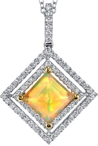Finest Fiery Crystal Ethiopian Opal Pendant With Diamond Accents - 18kt Gold
