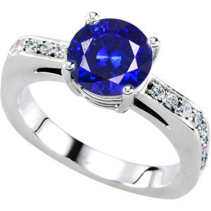 Finest GEM 1 carat 6mm Blue Sapphire Engagement Ring for SALE - 18 Diamond Accents in Band - Metal Type Options
