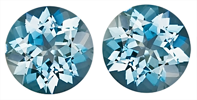 Finest Pair of Fine Rich Blue Aquamarine Genuine Gem Stones, Round Cut, 2.80 carats,