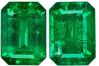 Finest Quality Emerald Matched Pair - Super Color, Clarity, Life & Cut, Emerald Cut, 1.69 carats