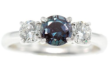 Finest Real 1ct 5.8mm Alexandrite and .50cts Diamond 3 Stone Platinum Ring set with GEM Grade 1 ct Vivid Real Alexandrite