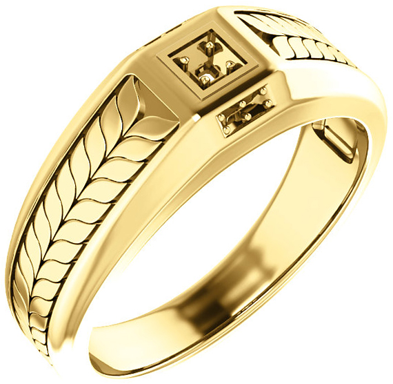 Fishtail Detail Accented Men's Ring Mounting for Asscher Gemstone Size 2mm to 6mm