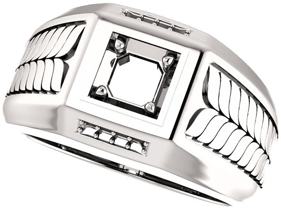 Fishtail Detail Accented Men's Ring Mounting for Asscher Shape Centergem Sized 2.00 mm to 6.00 mm - Customize Metal, Accents or Gem Type