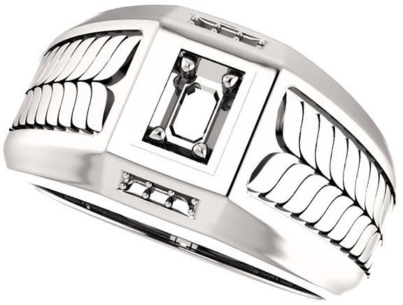 Fishtail Detail Accented Men's Ring Mounting for Emerald Shape Centergem Sized 5.00 x 3.00 mm to 7.00 x 5.00 mm - Customize Metal, Accents or Gem Type