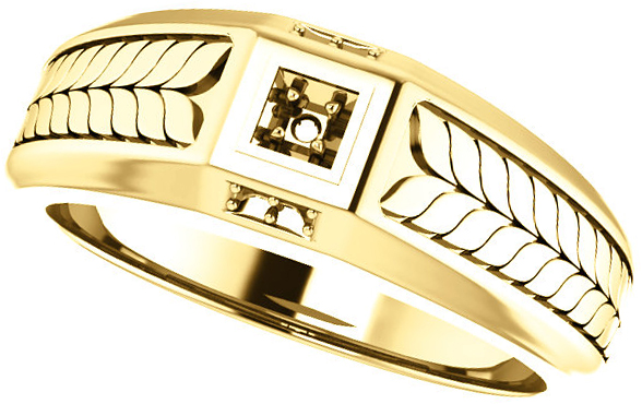 Fishtail Detail Accented Men's Ring Mounting for Round Gemstone Size 2mm to 6mm