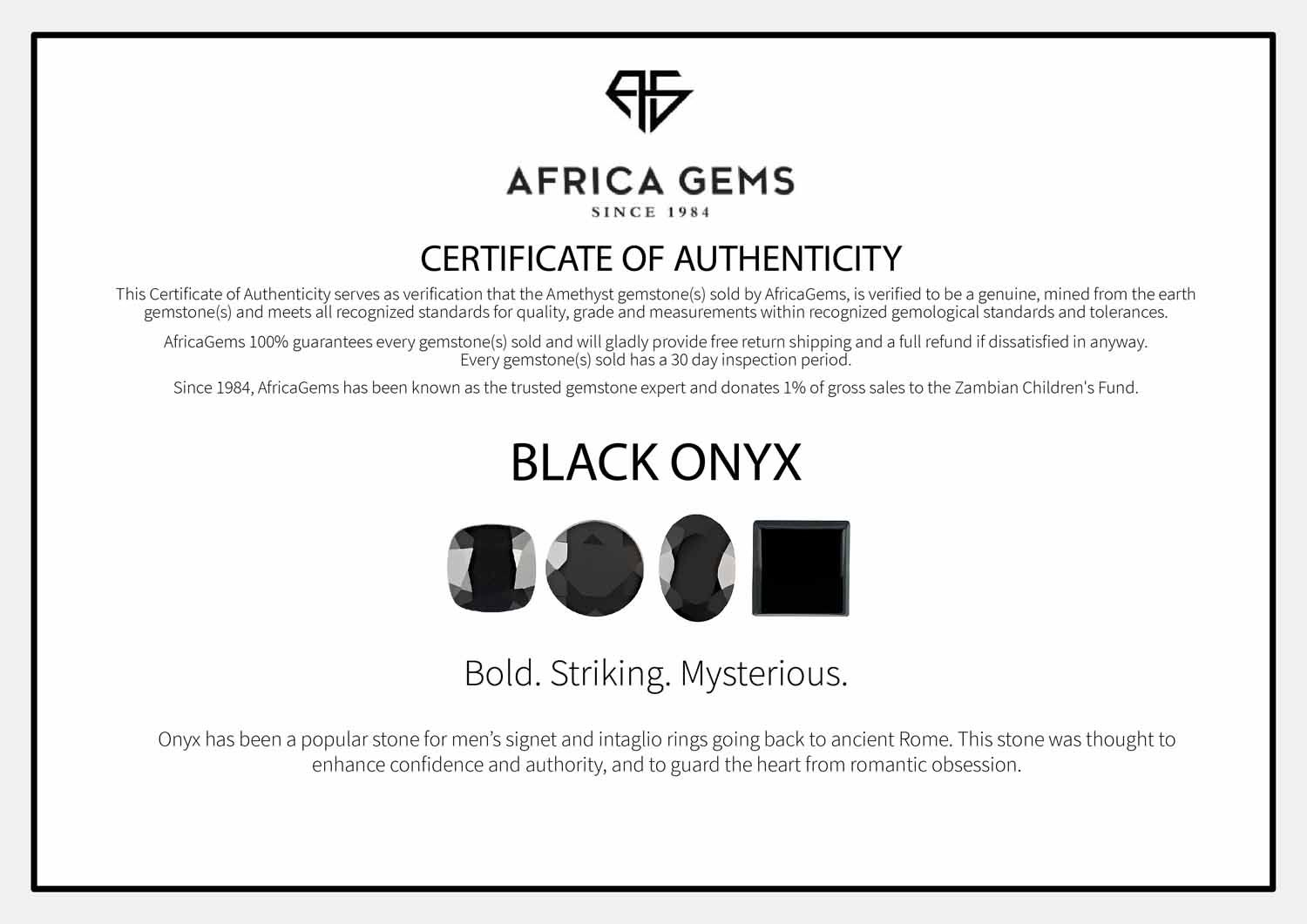 Black Onyx Flat Square Cut in Grade AAA