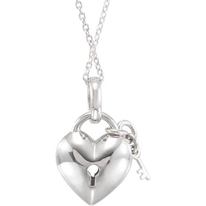 Flirty Heart Lock and Key Sterling Silver Pendant with .05ct Diamond Accents - FREE Chain Included