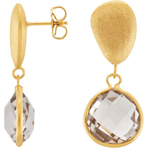 Flirty Yellow Gold Plated Fashion Earrings Featuring 29ct 16mm Light Smokey Quartz - SOLD