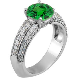 Fresh & Invigorating Genuine Green 1.3 carat 7mm Tsavorite Garnet Engagement Ring With Dazzling Faux Pave Diamond Accents