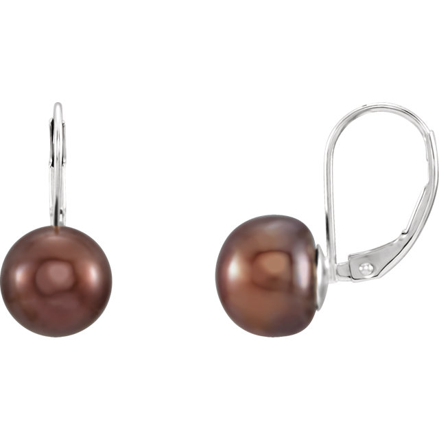 Contemporary Freshwater Chocolate Pearl Lever Back Earrings