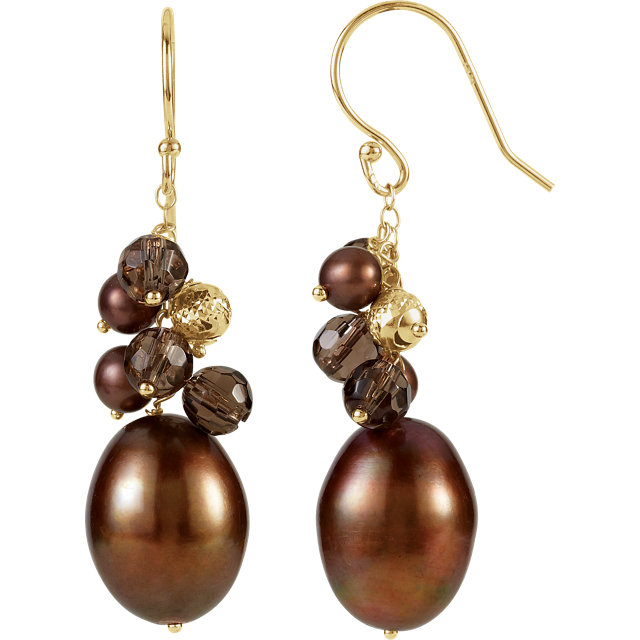 Stunning 14 Karat Yellow Gold Freshwater Cultured Dyed Chocolate Pearl & Smoky Quartz Earrings