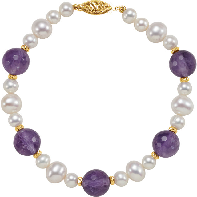 White Cultured Freshwater Pearl Bracelet in 14 Karat Yellow Gold Freshwater Cultured Pearl & Amethyst 7.5