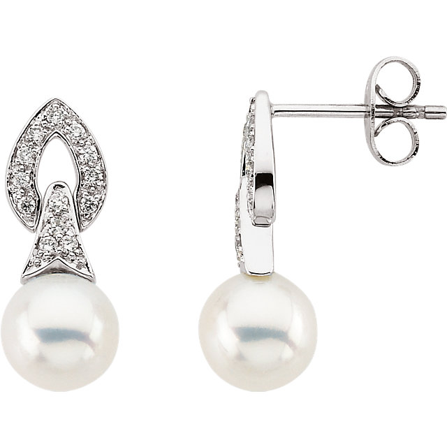 Perfect Jewelry Gift Freshwater Cultured Pearl & Diamond Earrings
