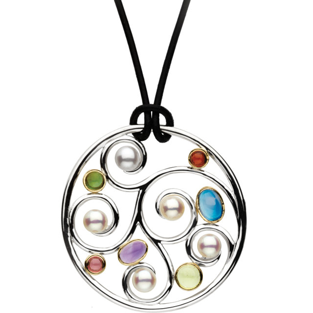 Great Buy in Sterling Silver & 14 Karat Yellow Gold Freshwater Cultured Pearl & Multi-Gemstone 20