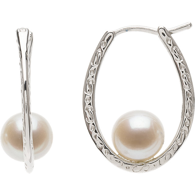 Magnificent Sterling Silver Genuine Freshwater Cultured Pearl Hoop Earrings