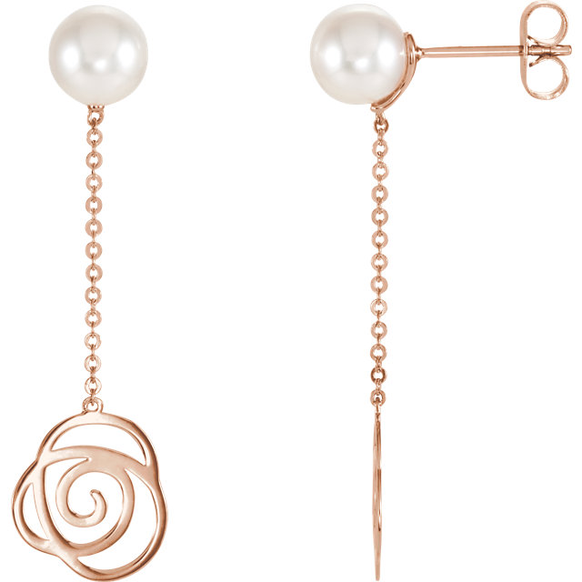 Easy Gift in 14 Karat Rose Gold Freshwater Cultured Pearl Earrings