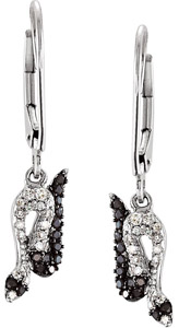 Fun .2ct .95-1.1mm Black Spinel and Diamond Snake Style Lever Back Earrings in Sterling Silver - SOLD