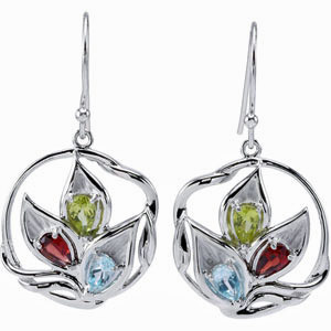 Fun and Fancy 4.74ct Sterling Silver Wire Earrings with Leafy Multi- Colored Gemstone Design - SOLD
