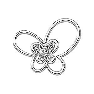 Fun and Flirty 14k White Gold Butterfly Pendant with .06ct Diamond Accents - FREE Chain