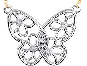 Fun and Flirty Butterfly Pendant With Flower Designs - .08ct Diamond Accents - Metal Type Options - FREE Chain Included With Pendant