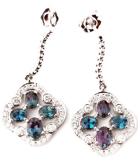 Fun and Flirty Real Alexandrite Moondrop Earrings With Pave Diamonds in 14k White Gold - Great Buy! - 2.05 carats, 4.60 x 3.65 mm