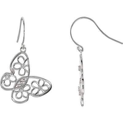 Fun and Flirty Wire Back Dangle Butterfly and Flower Design Earrings With .17ct,m 1.70 mm Diamond Accents for SALE - Metal Type Options