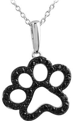 Fun Black .33ct Diamond Animal Paw Print Charm Pendant for SALE - Sterling Silver  With 31 1.30mm Black Diamonds - Free Chain Included