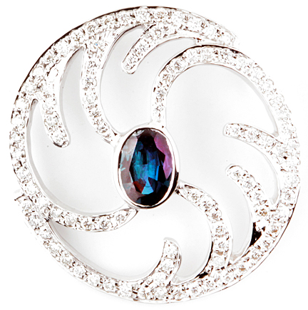 Fun Brazilian Alexandrite Pendant With a Circle Frame and Curved Diamond Designs in 14k White Gold  - 0.59 carats, 6.95 x 5.38 mm