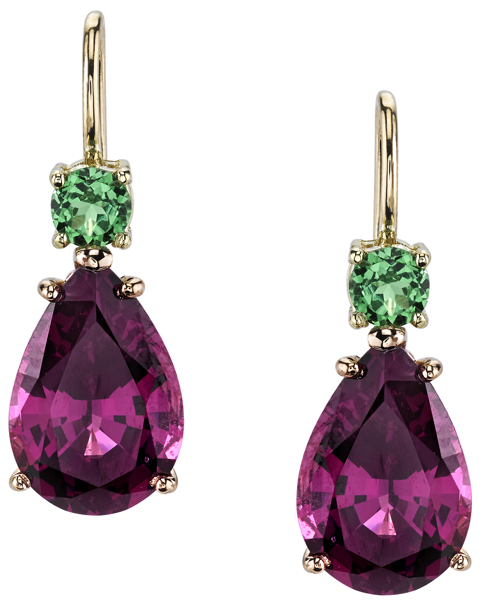 Fun Color Pear Shape Rhodolite Garnet & Round Tsavorite Garnet Dangle Earrings in 18kt Yellow & Rose Gold