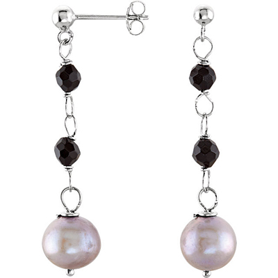 Fun Dangly Sterling Silver Fashion Earrings With 4mm Onyx Beads & 8mm Silver Grey Freshwater Cultured Pearls - SOLD