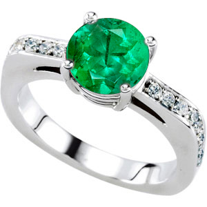 Fun & Flirty Solitaire Engagement Ring With Genuine Vibrant Green 1 carat 6mm Emerald Round Centergem - 18 Diamond Accents in Band