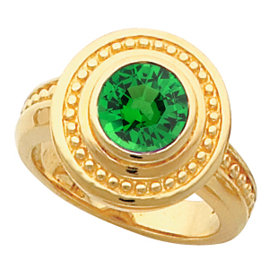 Gold Bezel Ring set with 1 carat 6mm Tsavorite Garnet Fashion Ring With Ornate Beaded Look