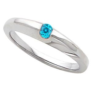 Fun for Stacking! -  Band Ring With Gorgeous Round Blue Zircon Gemstone Solitaire Center - SOLD