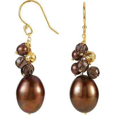 Funky & Fun Cluster Dangle Pearl Earrings in 14k Yellow Gold With 4-5mm Smokey Quartz & 10.5-11mm Dyed Pearls