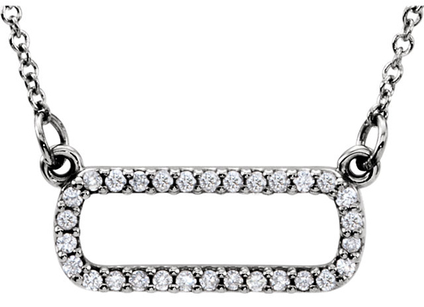 Funky Soft Rectangle Shaped 30 1mm Pave Diamond Pendant in 14k Gold - 1/6ct tw - FREE Chain