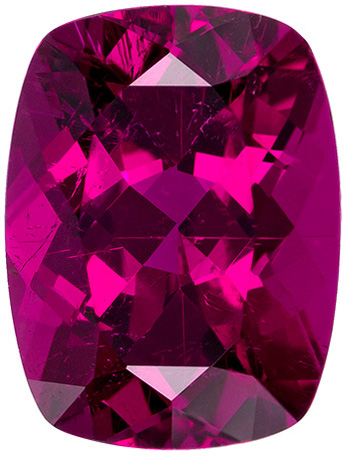 Fuschia Colored Tourmaline Loose Gem in Cushion Cut, Rich Fuchsia Color in 8.0 x 6.1 mm, 1.57 carats