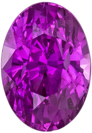 Fuschia Pink GIA Sapphire No Heat in Oval Cut, Vivid Color in 7.7 x 5.4 mm, 1.58 carats - SOLD