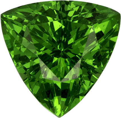 Garnet Vibrant Green Tsavorite Tanzania Natural Gemstone in Trillion Cut, 6.5 mm, 0.91 Carats